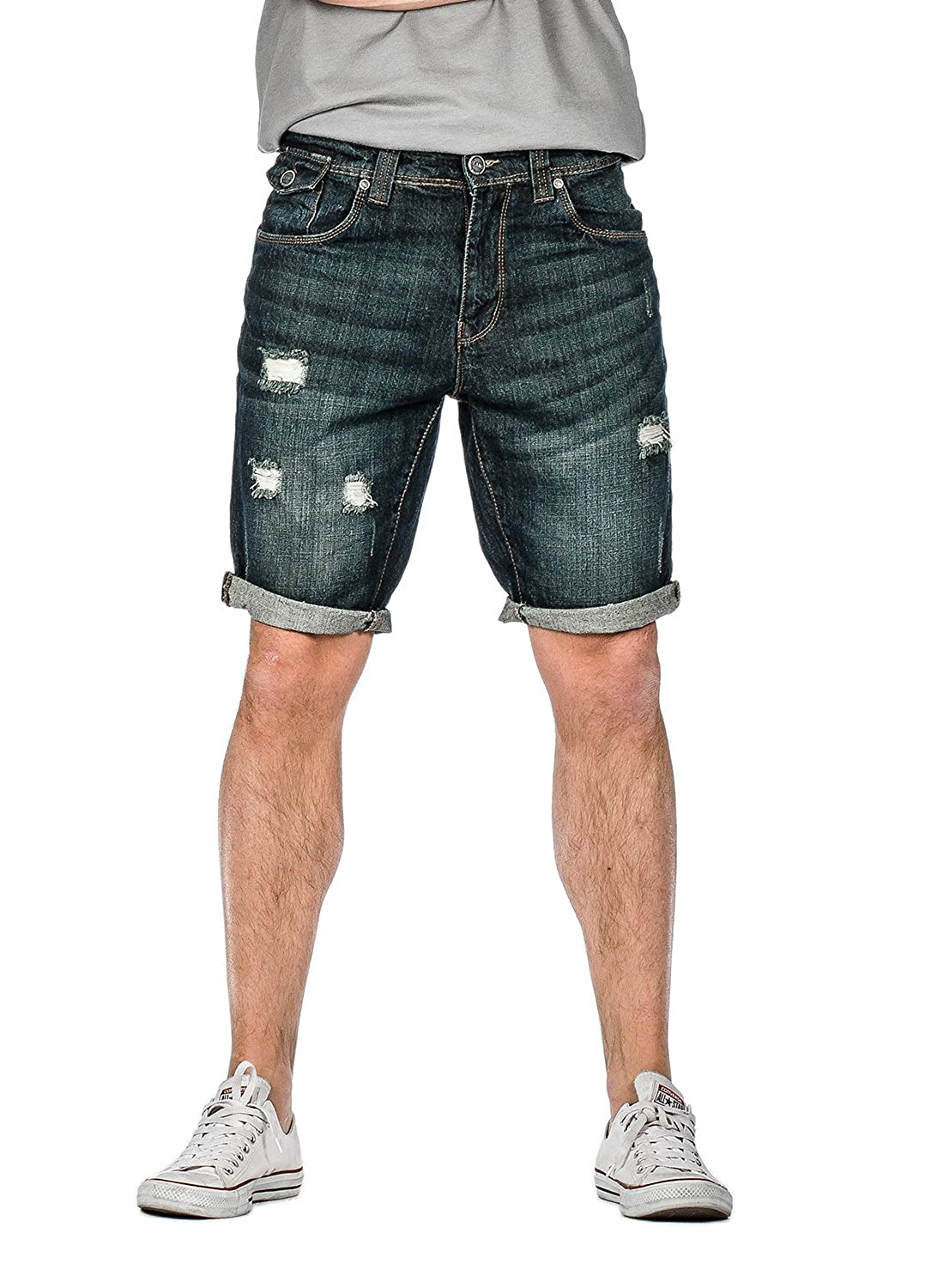 Suko Jeans Ripped Jean Shorts for Men Blue Black with Roll Up Cuff