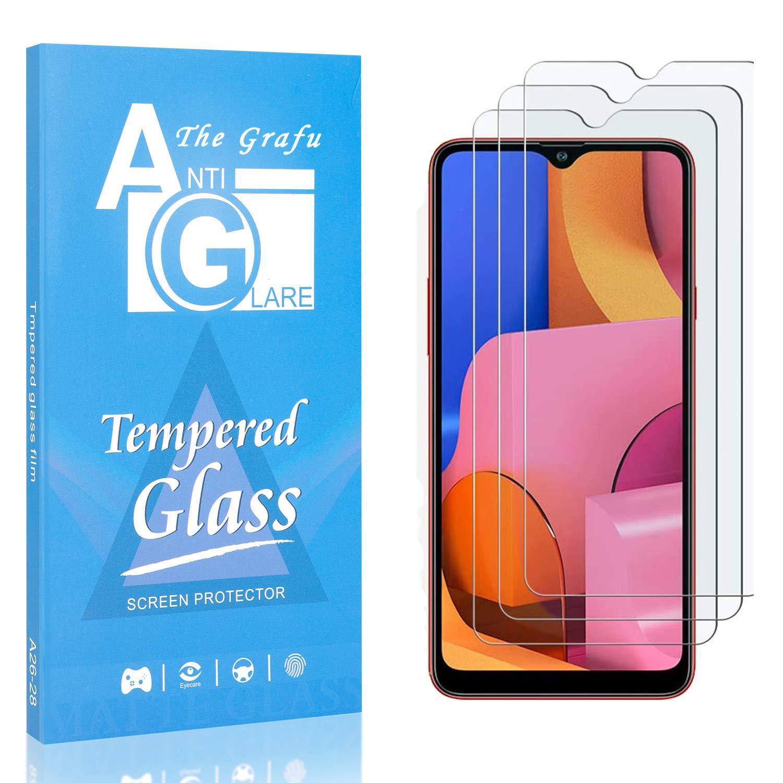 이 GRAFU 스크린 보호자를 위한 갤럭시 A20S 9H 경도 부드럽게 한 유리 거품 매우 명확한 스크린 보호자와 호환되는 삼성 갤럭시 A20S 팩 3