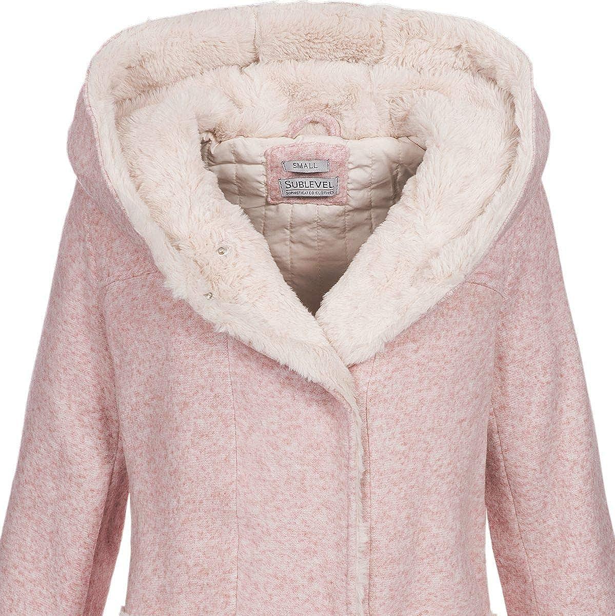 Sublevel Damen Woll-Mantel Jacke LSL-298//352 Kapuze meliert