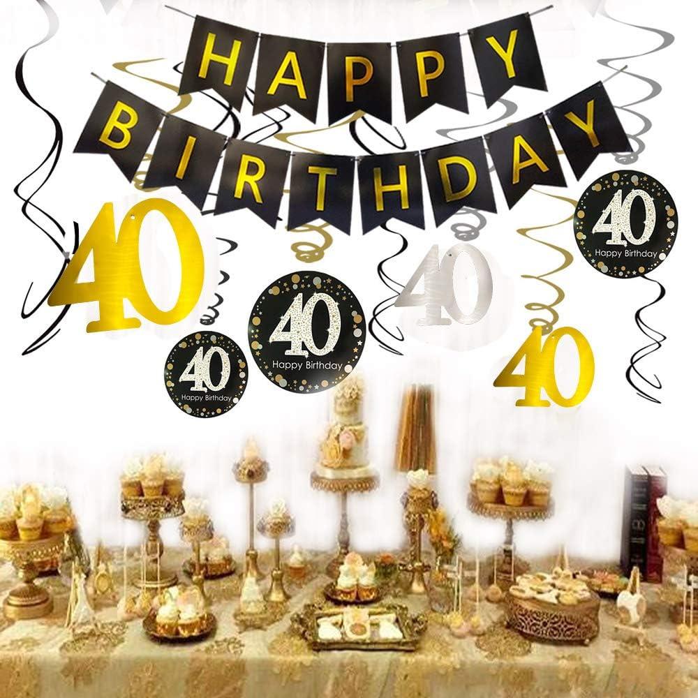 Amazon.com: 40th cumpleaños decoraciones – 40 números globos ...