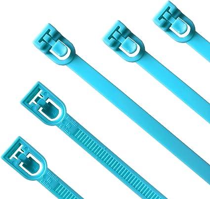 Lot de 50 Bleu Attaches de C?ble R?utilisables Canwn Nylon Ultra R?sistant Serre C?ble Flexible Zip Cable Ties avec Slipknot
