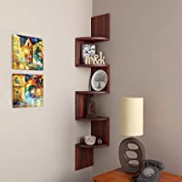 Furniture Cafe Zigzag Corner Wall Mount Shelf Unit/Racks and Shelves/Wall Shelf/Book Shelf/Wall Decoration (Walnut Finish, Brown)