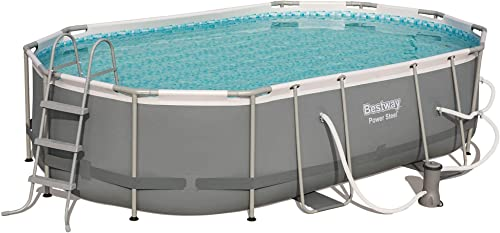 Bestway 56655E 16ft x 10ft x 42in Power Steel Frame Above Ground Oval Swimming Pool Set