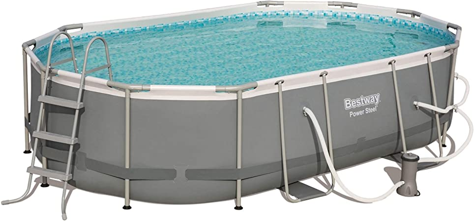 Bestway 56655e Power Steel 16ft X 10ft X 42in Outdoor Oval Frame Above Ground Swimming Pool Set With 1000 Gph Cartridge Filter Pump Ladder And Cover Garden Outdoor