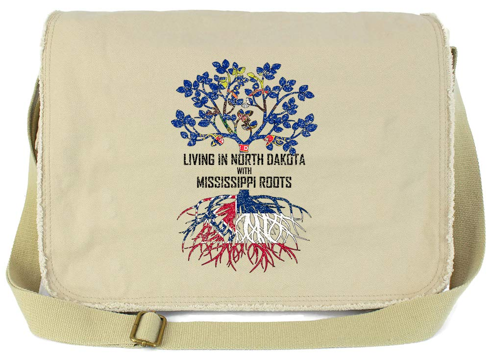 Tenacitee Living In North Dakota with Mississippi Roots Grey Brushed Canvas Messenger Bag