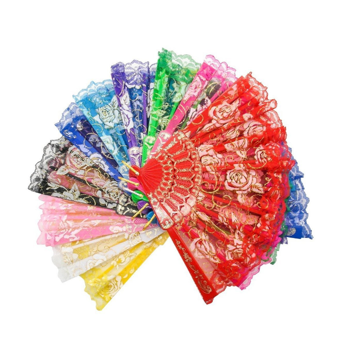 YOHO BUY Elegant Vintage Retro Flower Rose Lace Handheld Chinese Folding Fan For Dancing Ball Parties Ladies (10 Color)