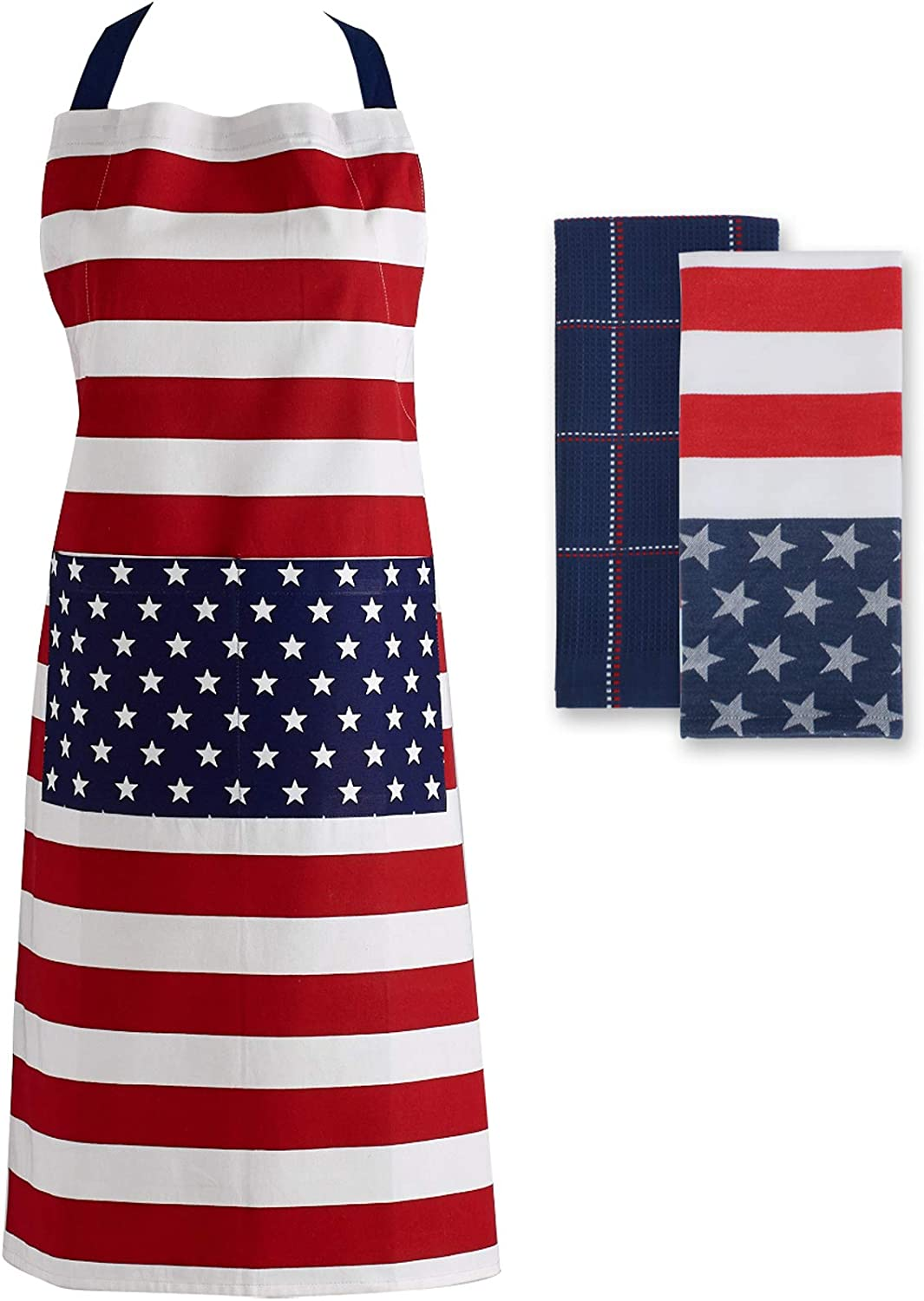 DII 4th of July Kitchen Collection 100% Machine Washable Cotton for Entertaining, Cooking, Baking or Barbeques, Set, Stars & Stripes 3 Piece