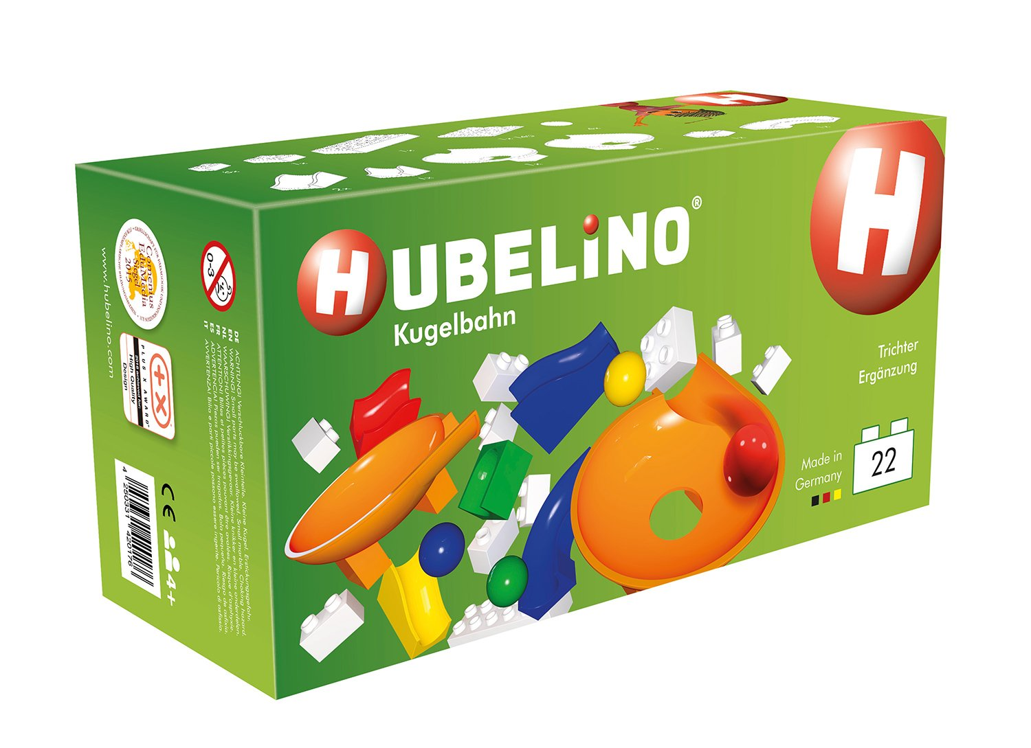 HUBELINO Marble Run - 22-Piece Twister Expansion Set - the Original! Made in Germany! - Certified and Award-Winning Marble Run - 100% compatible with Duplo Review