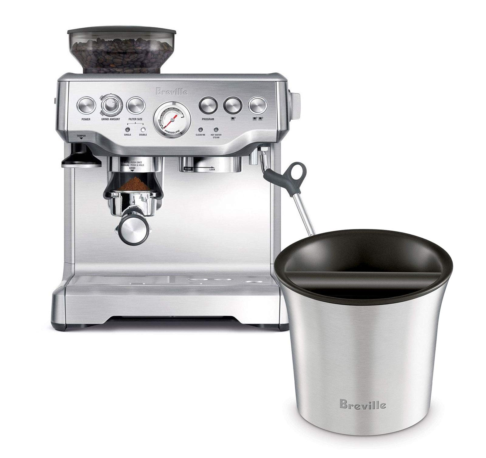 Breville BES870XL Barista Express Espresso Machine Bundle with Breville BCB100 Barista-Style Coffee Knock Box - Stainless Steel by Breville