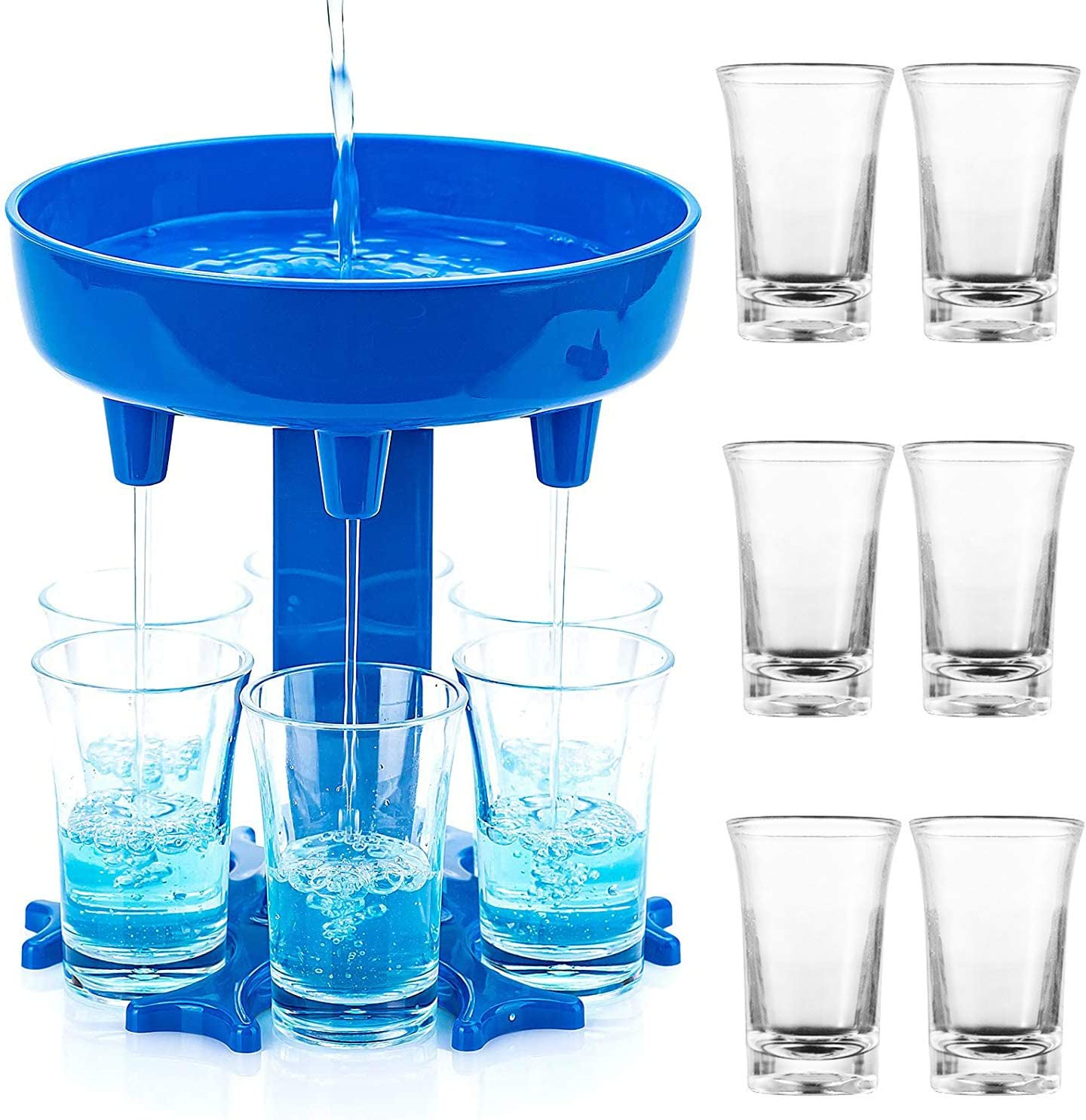 6 Shot Glass Dispenser and Holder Liquor Dispenser, Shots Dispenser Bar Shot Dispenser For Home Bar, Man Cave Decor, Bar Decor, Party Games, Adult Party Games-Include 6 shot glasses (Blue, Circle)