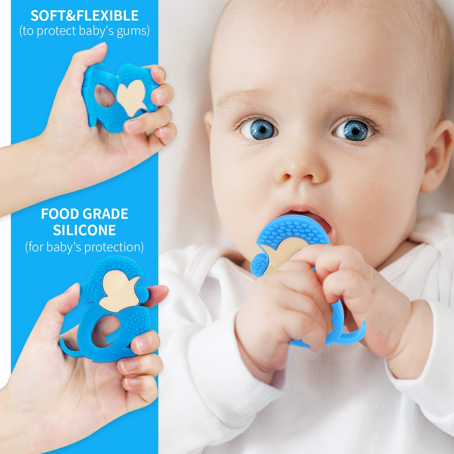 Miracle Silicone Monkey Teeth Chew Toys BPA Free Baby Bath Toys 6-12 Month Teether Toy