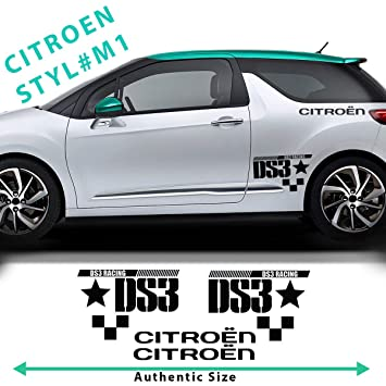 Citroen c3 ds3 racing side stickers graphics decals car stickers authentic size in black