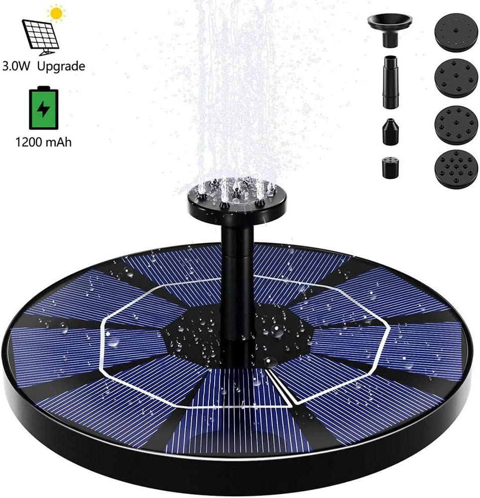 Unabh/ängigem Schwimmendem Solarpanel-kit N//b Solarbrunnenpumpe Ist F/ür Bird Nest 3.0w Geeignet 6 D/üsen Mit 1200mah Batterie-Backup Solarbetriebener Wasserpumpe