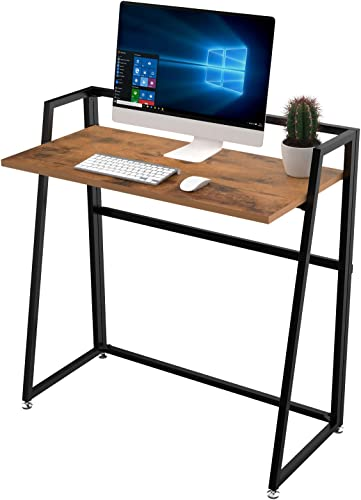 EUREKA ERGONOMIC Modern Folding Computer Desk Teen Student Dorm Study Desks 33-inch Teak Wood Fold up Desk
