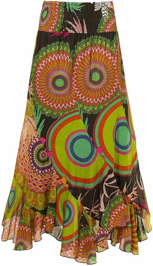 Falda Larga con Mandalas de Colores, algodón.Look Boho Colorido ...
