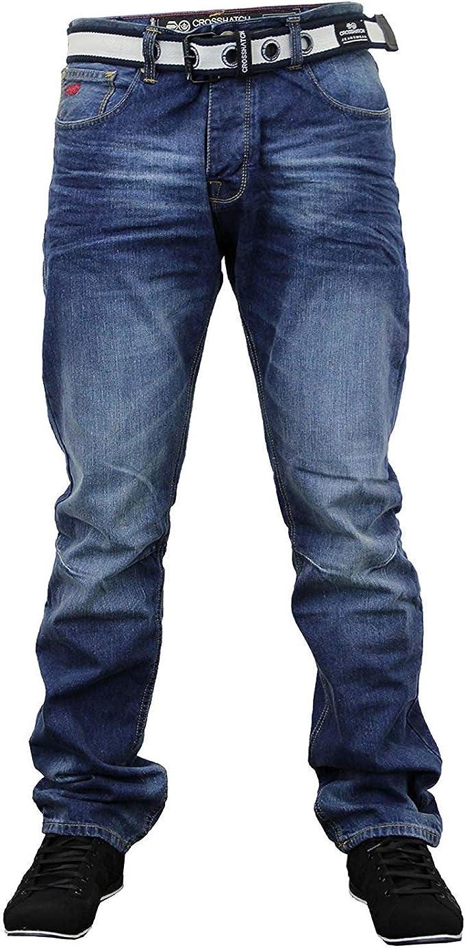 Men/'s Enzo Straight Leg Designer Free Belt Jeans Pants Waist Sizes 28 To 48