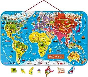 Janod - Puzzle magnético del Mundo de madera, Version en Alemán, 92 piezas (J05490): Amazon.es: Juguetes y juegos