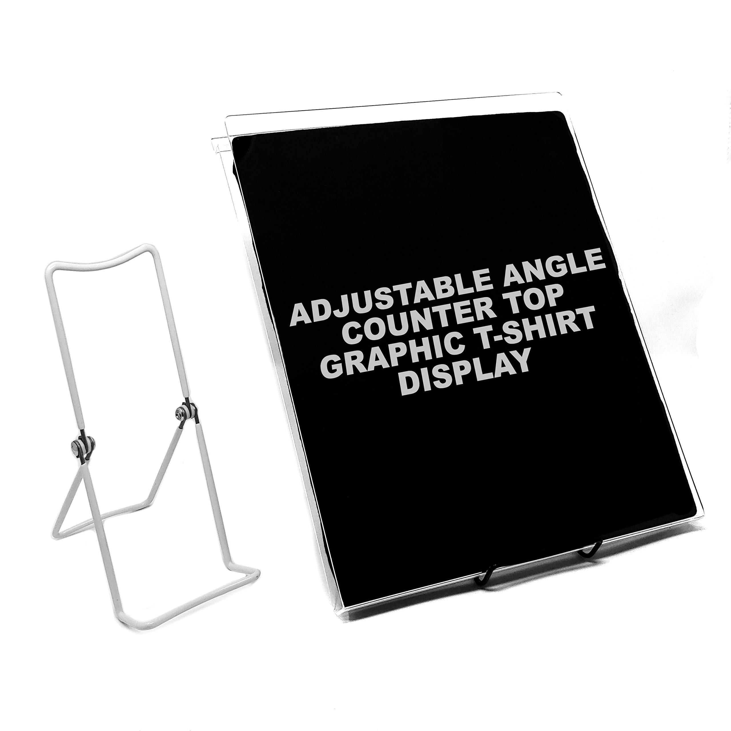 Countertop T-Shirt Display, Acrylic Adjustable Angle Graphic Tee Holder, 11.5'' X 14.5, Black, 5 Pack