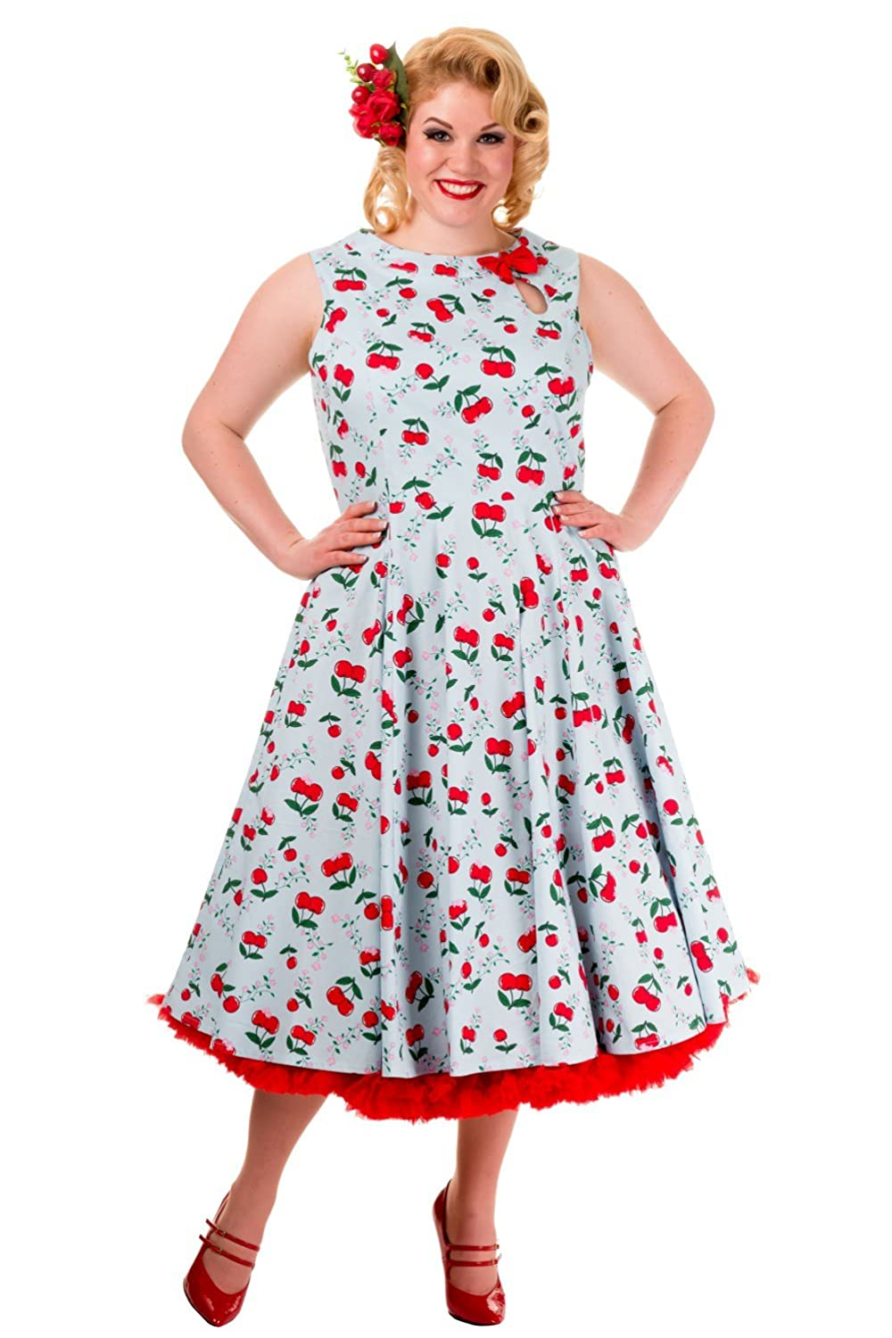 Banned Blindside Sleeveless Vintage Cherry Print Dress - Plus Size