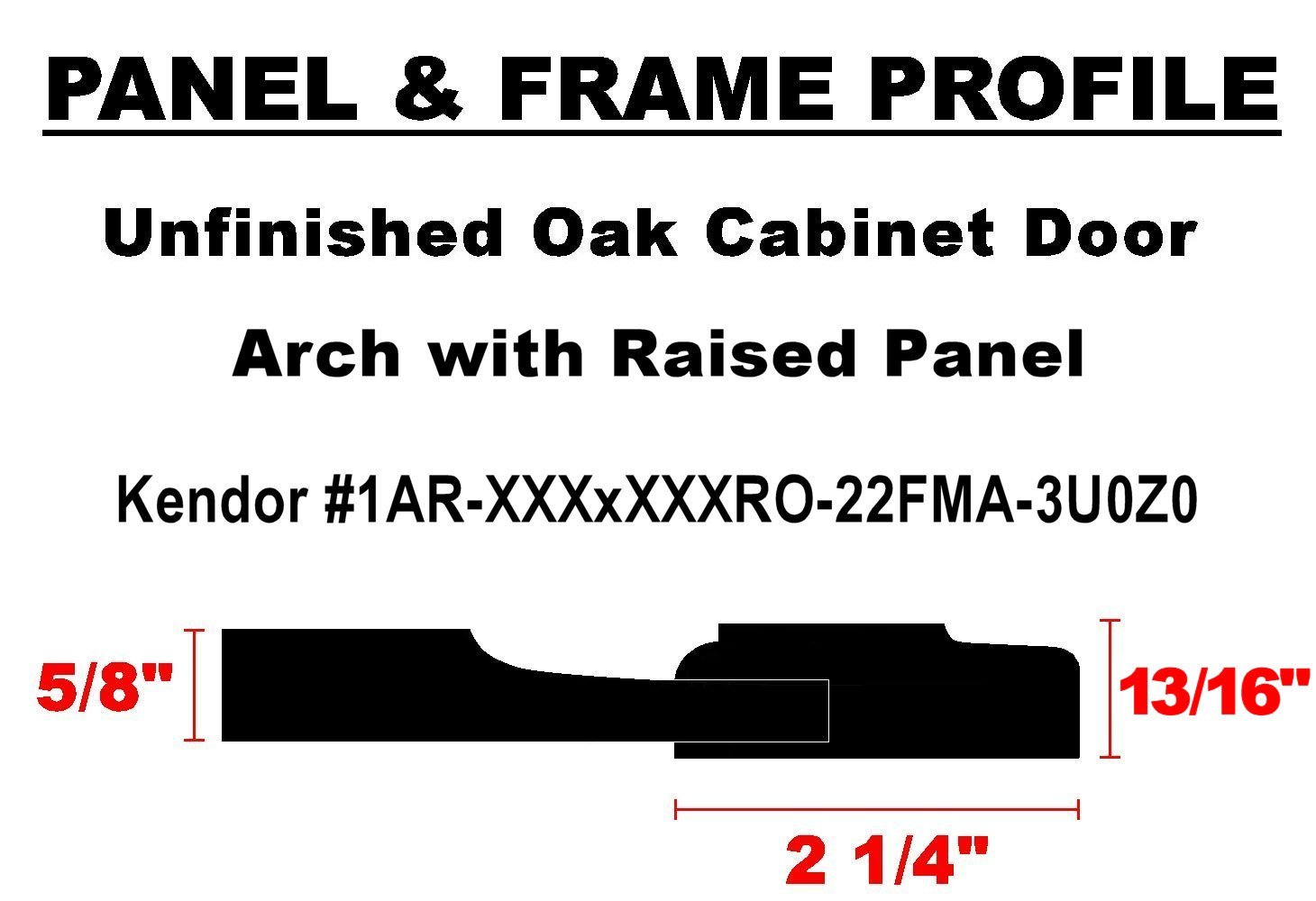 18H x 13W Unfinished Oak Arch Top Cabinet Door by Kendor