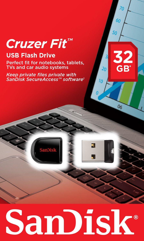 Sandisk Cruzer Fit Cz33 32gb Usb 20 Low Profile Flash Flashdisk Otg 32 Gb Drive Sdcz33 032g B35 Computers Accessories