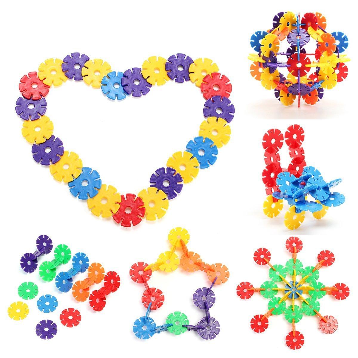 2 Atglus 500pcs Snowflakes Building Blocks Plastic Insert Assembly Block Sets for Baby Child Educational DIY Toys