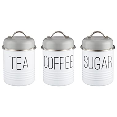 Typhoon Vintage Mayfair 1-Quart Coated Steel Canister Set with Airtight Lid; Set Contains Tea, Coffee and Sugar Canisters; Gray and White