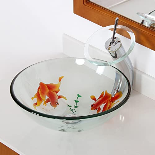 ELITE Bathroom Koi Fish Glass Vessel Sink Chrome Waterfall Faucet Combo