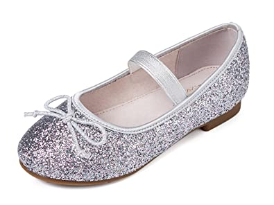 Alicorn Girl s Silver Glitter Casual Bowknot Mary Jane Flats 1 M US Little  Kid