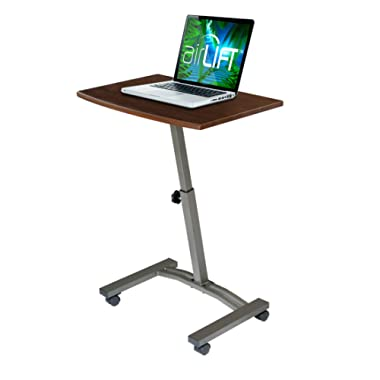 Seville Classics WEB162 Mobile Laptop Computer Desk Cart Height-Adjustable from 20.5  to 33  Slim Walnut
