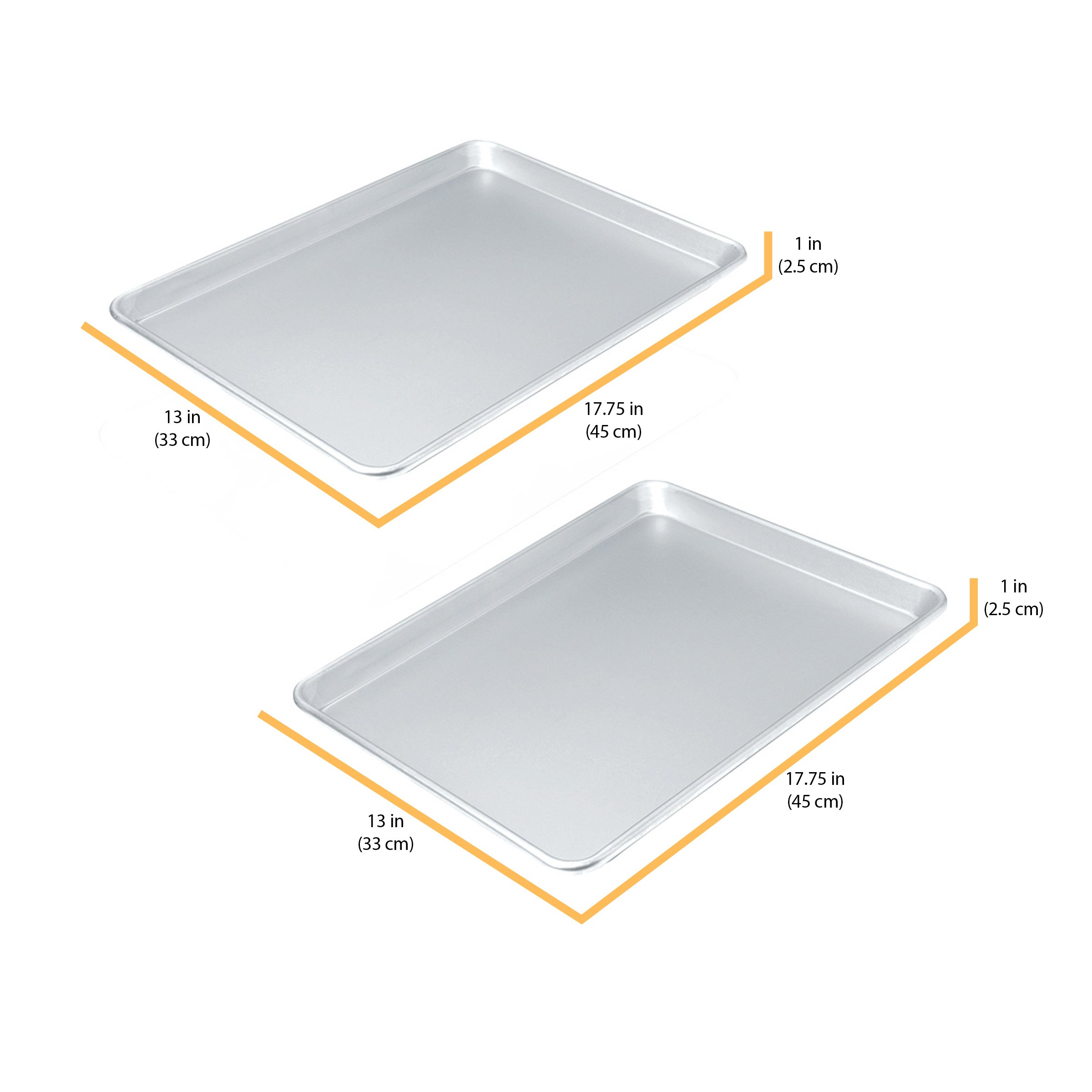 Chicago Metallic Commercial II Traditional Uncoated 16-3/4 by 12-Inch Jelly-Roll Pan, Set of 2