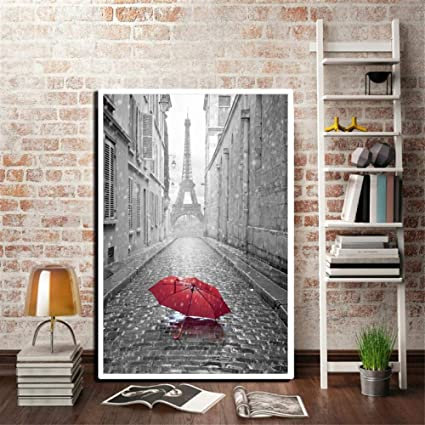 ZYWGG Cuadro Dormitorio Paraguas Rojo Romantic Paris City Picture Poster Blanco Y Negro Torre Eiffel Photo Decor @ 50X70Cm_Frameless: Amazon.es: Hogar
