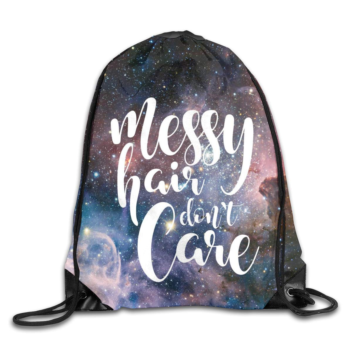 Private Bath Customi Drawstring Bags Messy Hair Don't Care Unisex Gym Drawstring Shoulder Bag Backpack Travel School Rucksack String Bags