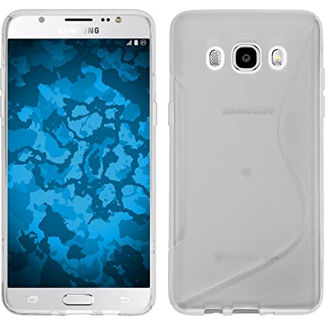 PhoneNatic Funda de Silicona para Samsung Galaxy J5 (2016) J510 - S-Style Transparente - Cover Cubierta + Protector de Pantalla