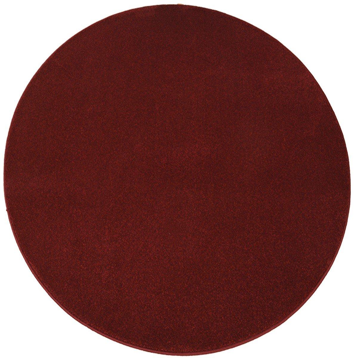 Havatex Luxus Velours Teppich Buffalo rund - elde melierte Farbauswahl   schadstoffgeprüft   robust & pflegeleicht   ideal für Wohnzimmer Schlafzimmer, Farbe Rot, Größe 133 cm rund