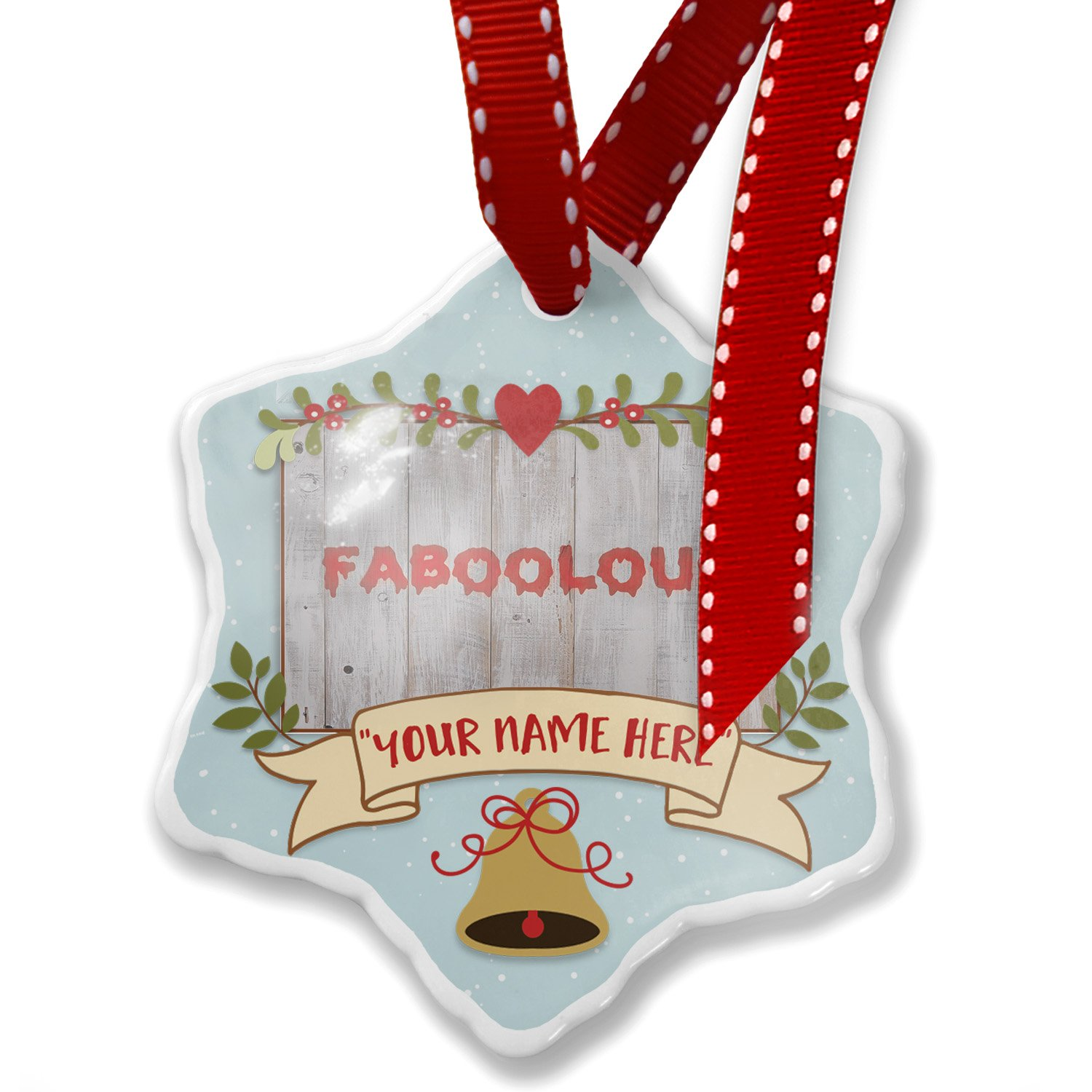 Add Your Own Custom Name, FaBOOlous Halloween Bloody Wall Christmas Ornament NEONBLOND