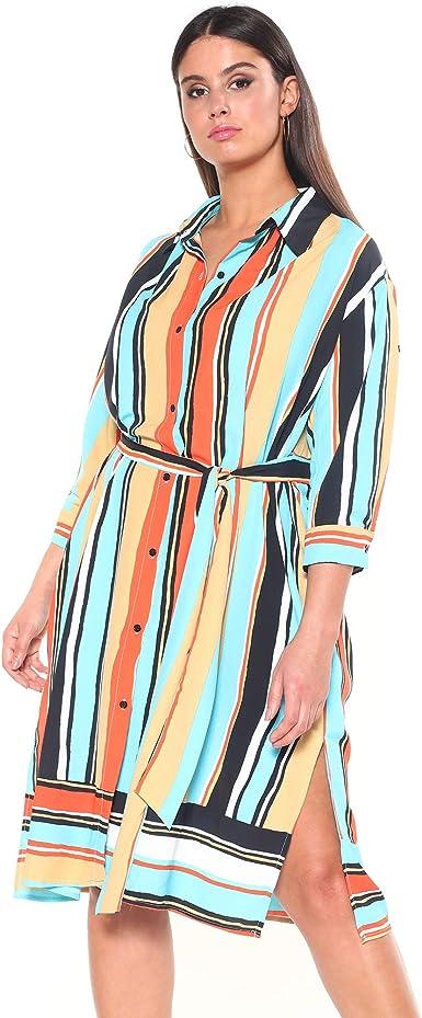 CHIC SIZE: L-4XL Vestido Camisero Mujer - 037057, Azul Rayas, L: Amazon.es: Ropa y accesorios