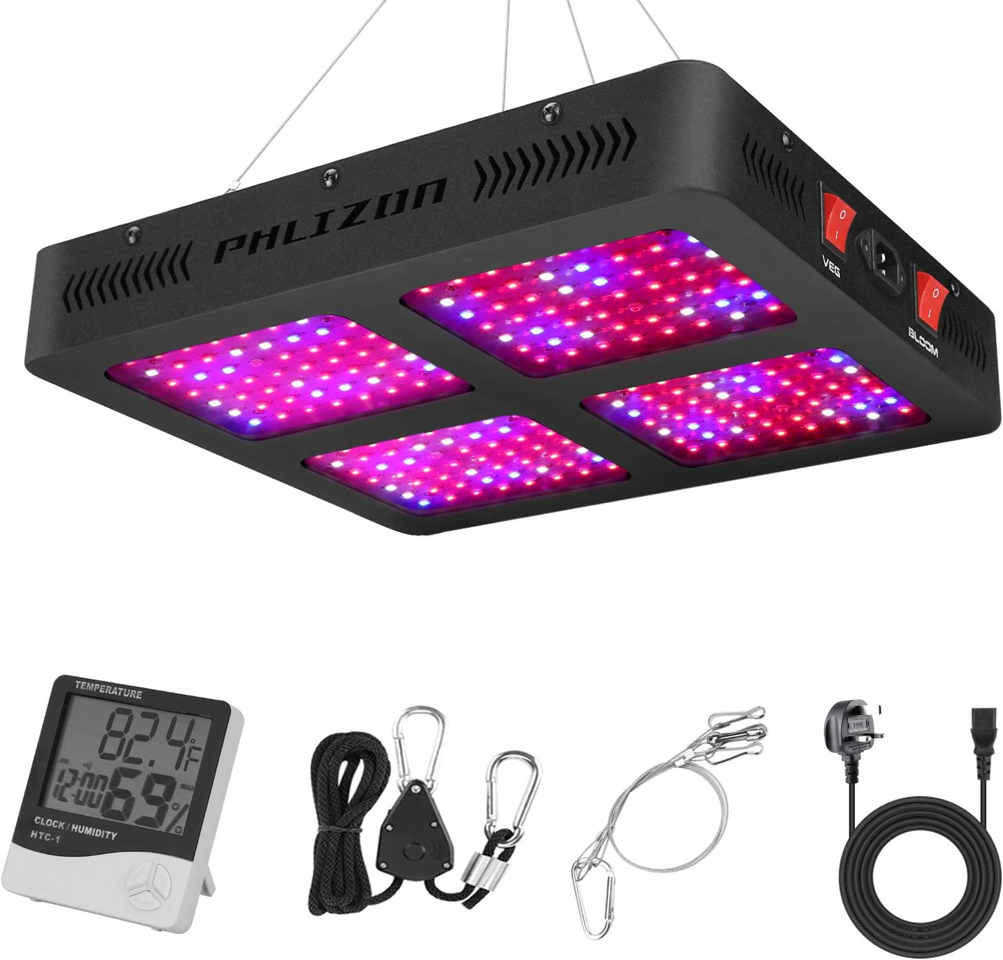 Phlizon 2200W Double Switch Series Plant LED Grow Light for Indoor Plants Greenhouse Lamp Full Spectrum Growing LED Light for Veg Bloom with Thermometer Adjustable Rope (Actual Power 440watt)