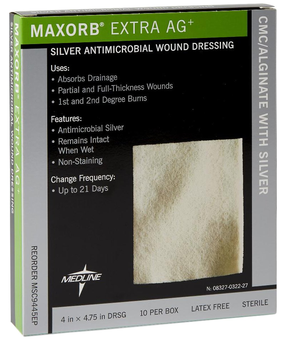 MSC9445Z Medline 10 EA/BX DRESSING,MAXORB EXTRA AG,ALGNTE,4X4.7 Medline MSC9445Z