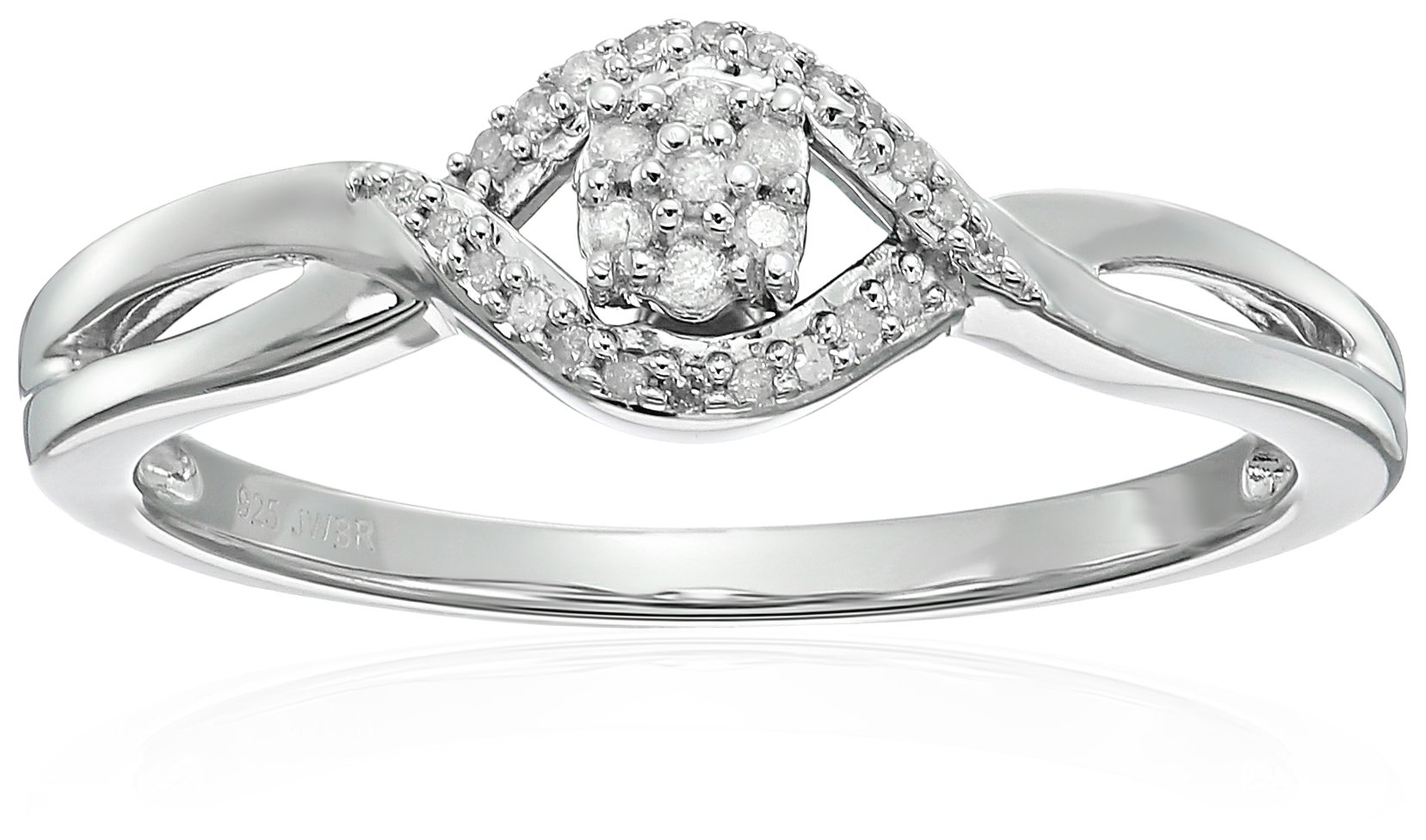 Sterling Silver Diamond Cluster Promise Ring, Size 6 (1/10cttw)