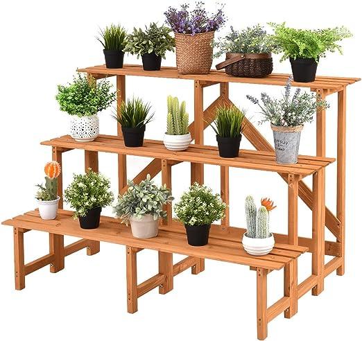 Dirctsale - Soporte de madera de 3 niveles para macetas, estante expositor, escalera, soporte de gran capacidad.
