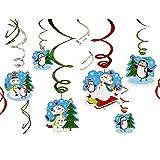 Amscan - Confezione da 12 decorazioni natalizie, a sospensione, motivo pupazzo di neve felice
