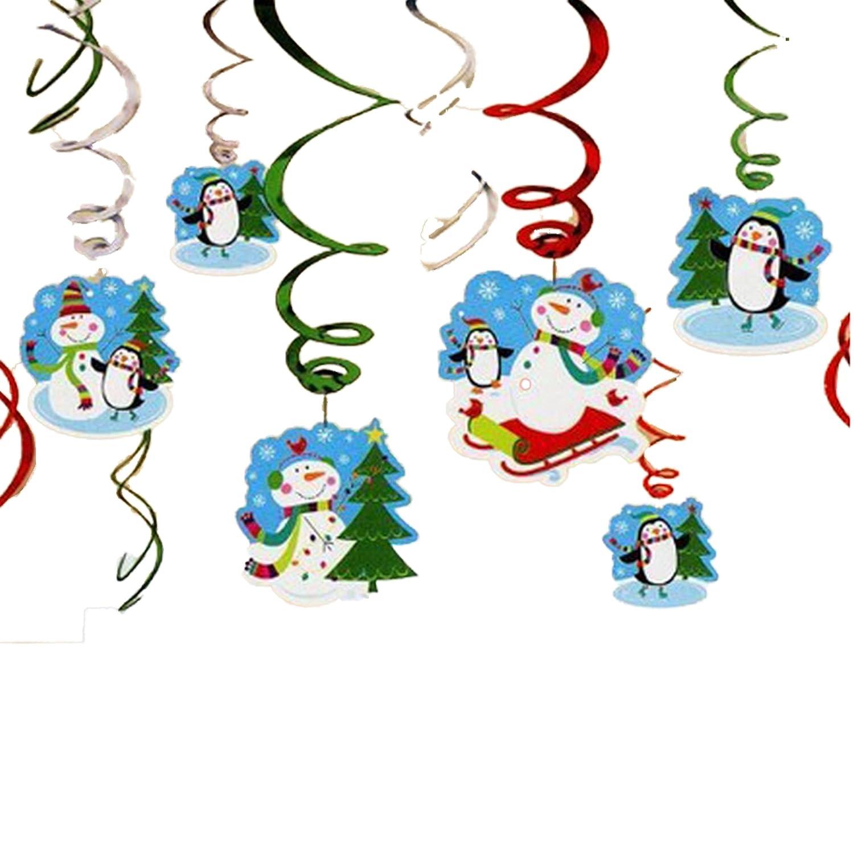 AMSCAN - Confezione da 12 decorazioni natalizie, a sospensione, motivo pupazzo di neve felice 679731