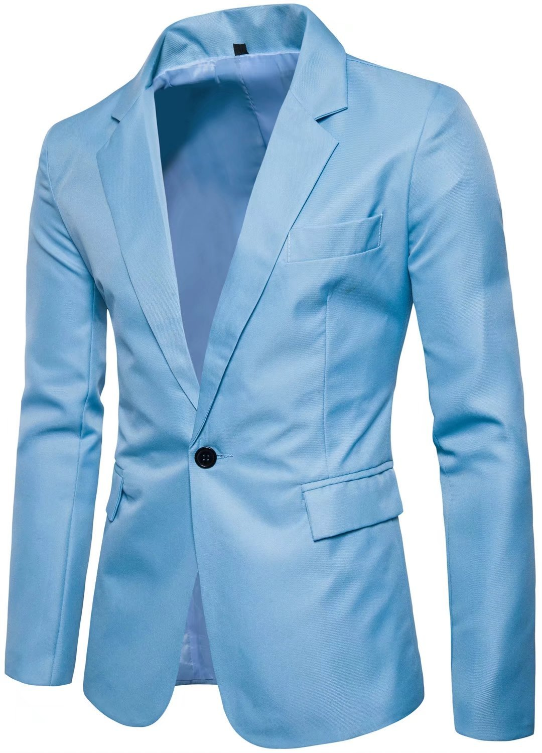 HENGAO Men's Long Sleeves Peak Lapel Collar One Button Slim Fit Sport Coat Blazer