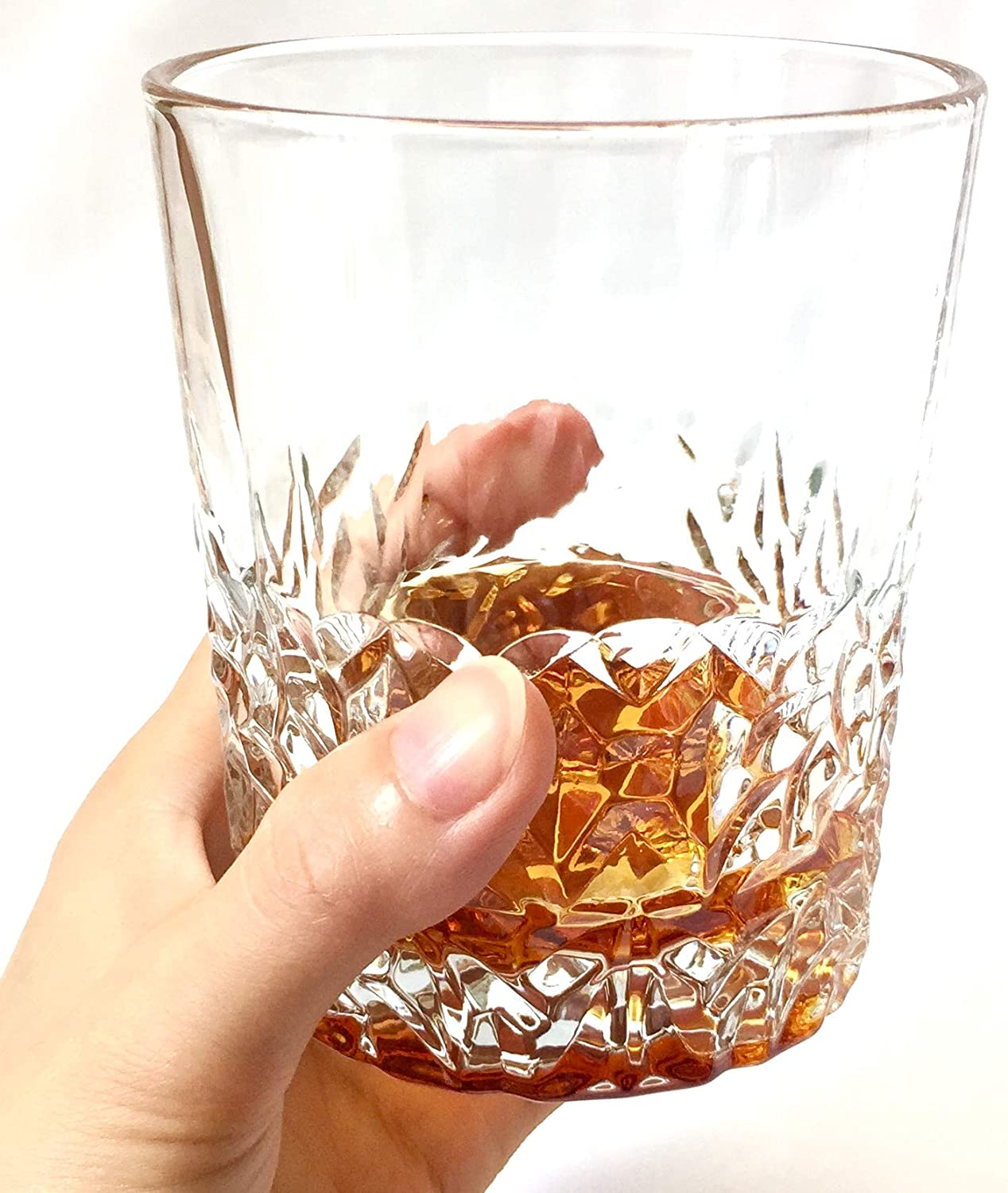 Old Fashioned Glass Tasting Cups Scotch Glasses Bourbon Premium Crystal Whiskey Glasses Set of 6 Tumblers for Drinking Irish Whisky Ice Cube, 9.6 oz Tequila Large Lead-Free Crystal Glass
