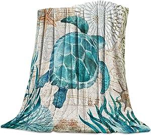 SODIKA Flannel Fleece Bed Blankets Lightweight Cozy Throw Blanket for Couch Sofa Bedroom Adults Kids,Sea Turtle Ocean Animal Landscape 39x49 inch