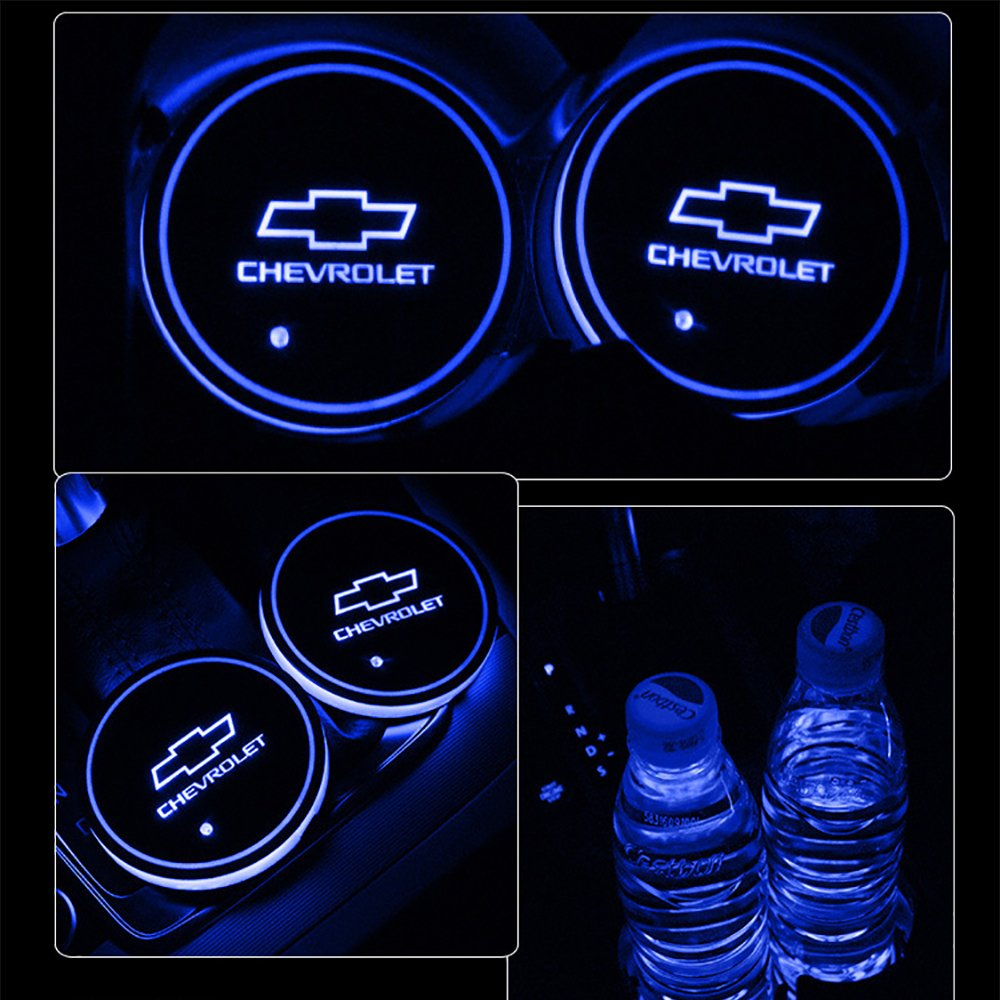 車用 LED ドリンクホルダー レインボーコースター 車載 ロゴ ディスプレイライト LEDカーカップホルダー マットパッド (シボレー Chevrolet) B079BNRQ1C シボレー Chevrolet シボレー Chevrolet