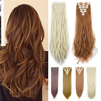 Amazon.com   FUT Double Weft 18 Clips in 8 PCS 3-5 Days Delivery 23-24inch  175g Straight Curly Full Head Synthetic Hair Pieces Extensions for Girl Lady  ... 30f065e156