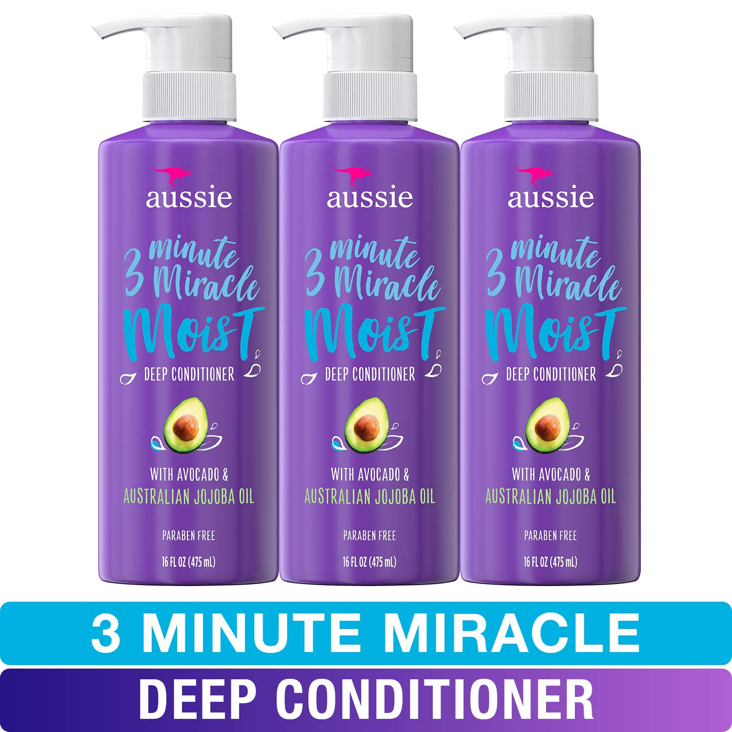 Aussie Deep Conditioner With Avocado Paraben Free 3 Minute Miracle Moist For Dry Hair 16 Fl Oz Triple Pack