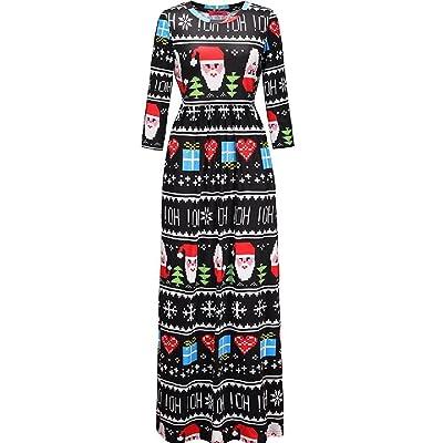 Abetteric Women's Wild Snowflake Christmas Santa Claus Evening Dresses